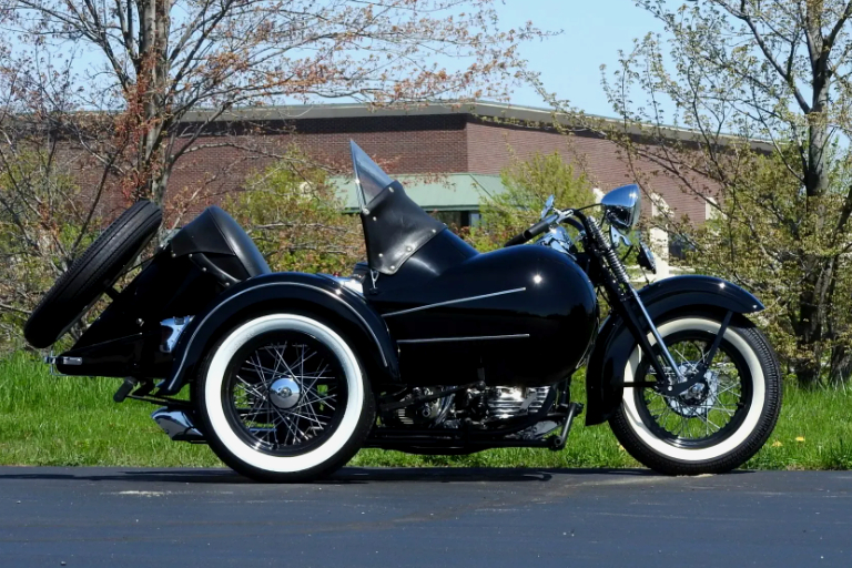 Vintage (used) motorcycles' values: 1942 Harley-Davidson UL 74 Flathead with Goulding Rocket Sidecar, US$39,900 for sale