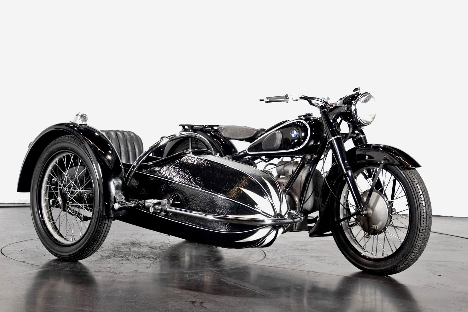 Vintage (used) motorcycles' values: BMW sidecar, approx. $30,845 for sale