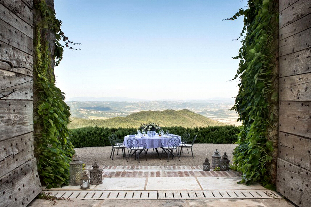 Modern castle houses: Elegantly restored castle near Perugia, Italy (price on request).