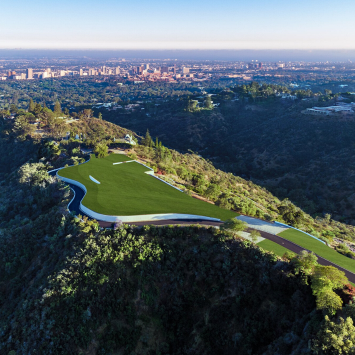 a 120-acre undeveloped site in Beverly Hills, Los Angeles, view from above