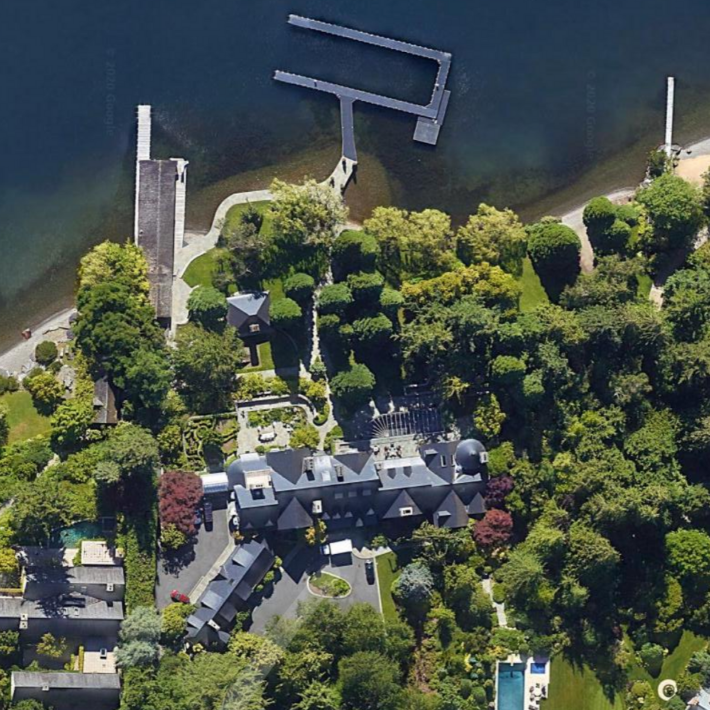 Bezos' Seattle home in Medina, view from above by Google Maps