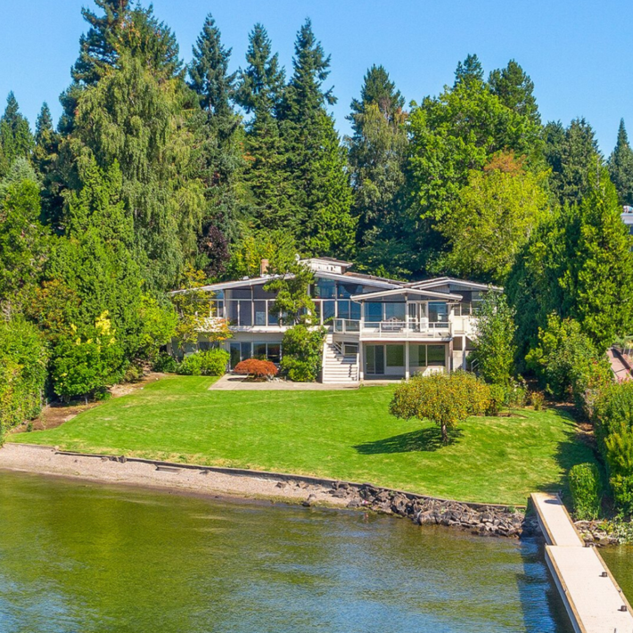 Waterfront property in Medina, Seattle, with a dock