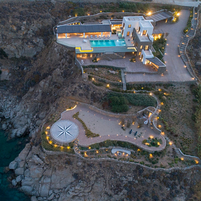 Aerial view of the villa Energia with a helipad in Mykonos, South Aegean, Greece (approx. US$8,533,054)