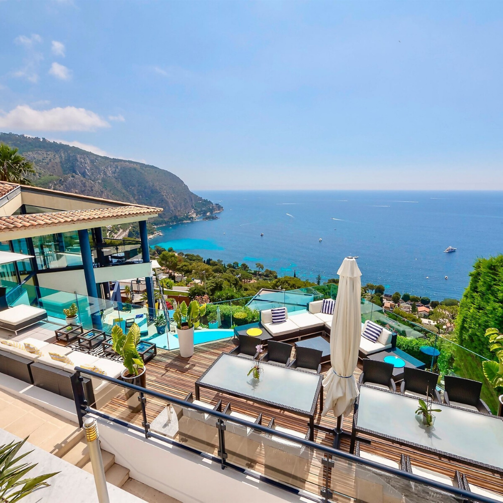 Best places to live in French Riviera: seafront villa in Eze not far from Nice with one of the best views in French Riviera, overlooking Monaco and not far from one of the best beaches in French Riviera, and best authentic medieval villages and towns in French Riviera, and some of the best places to stay in French Riviera
