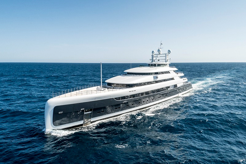Illusion Plus, brand new Billion dollar yacht with helicopter pad.