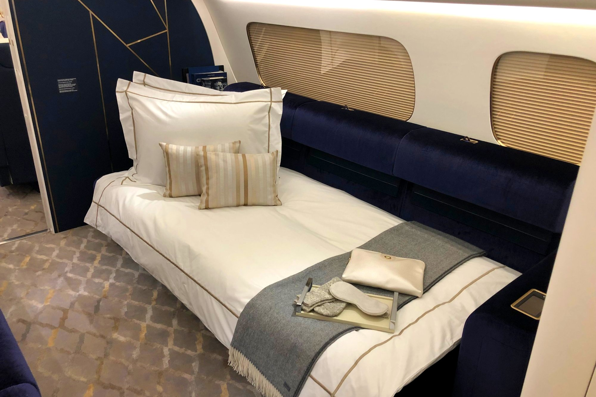 The nicest gold-blue interior for luxury private jets