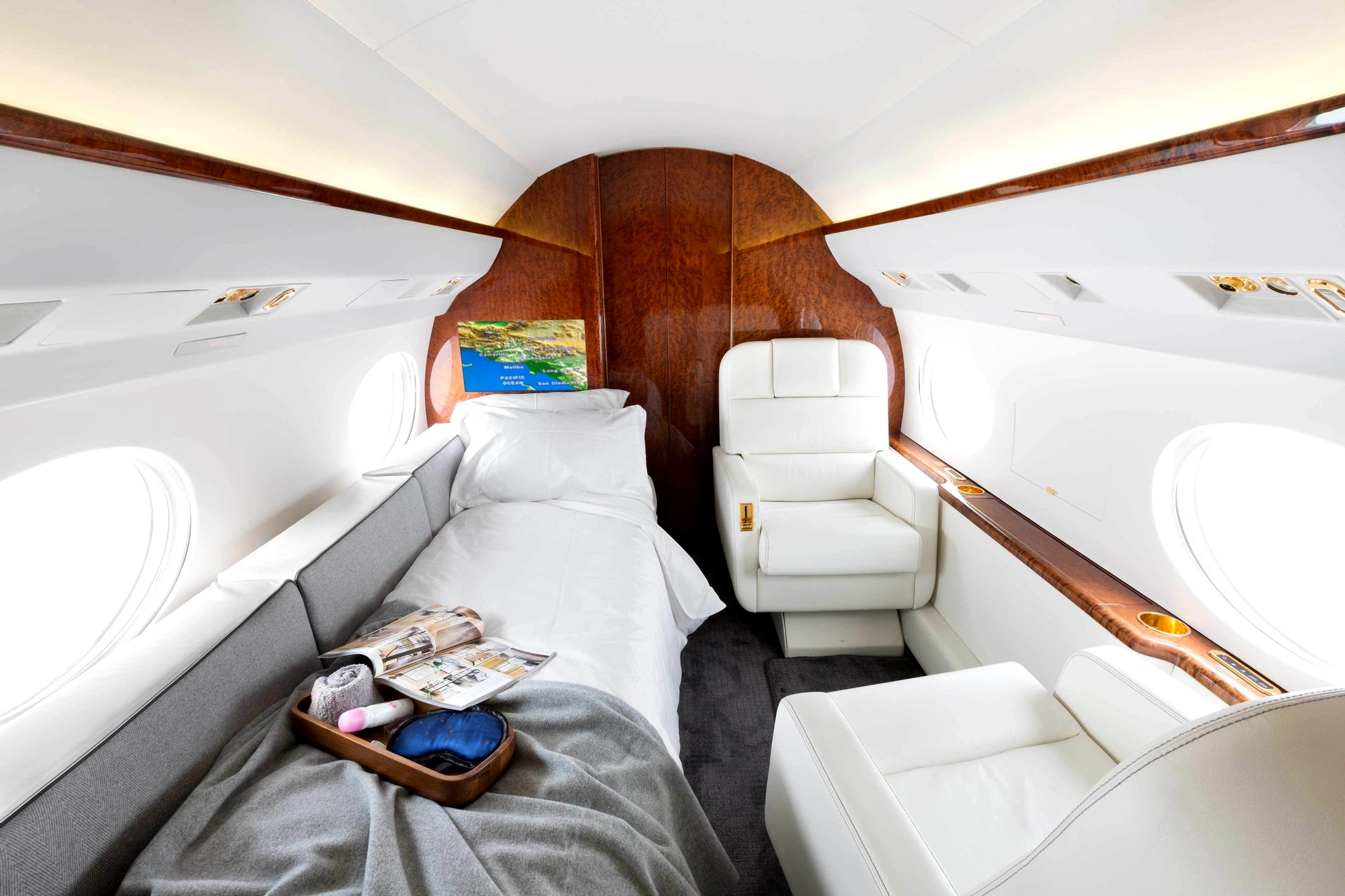 Private 747 jet with a luxury bedroom
