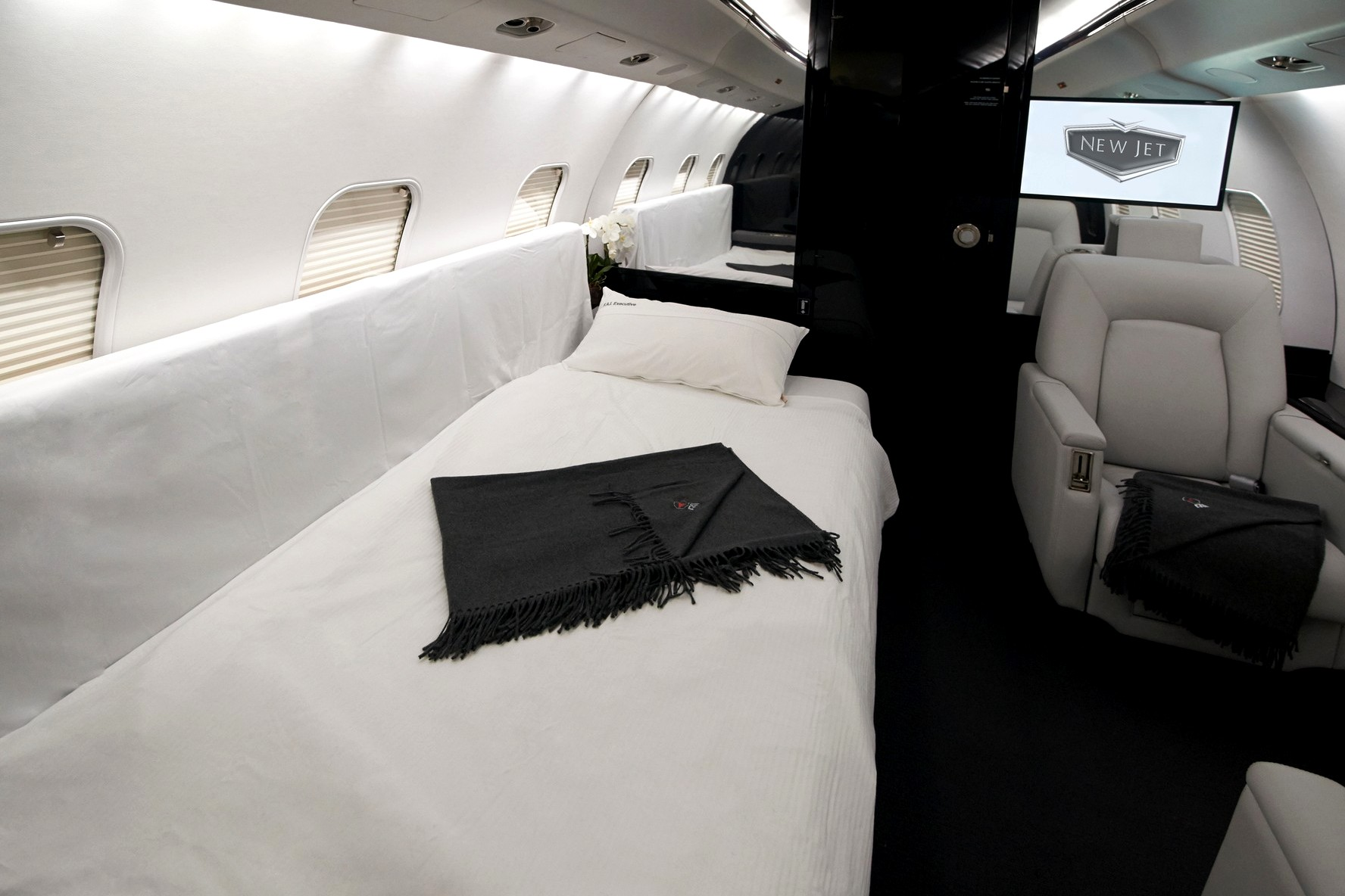 Inside A380 private jet with luxury twin bedroom and master bedroom