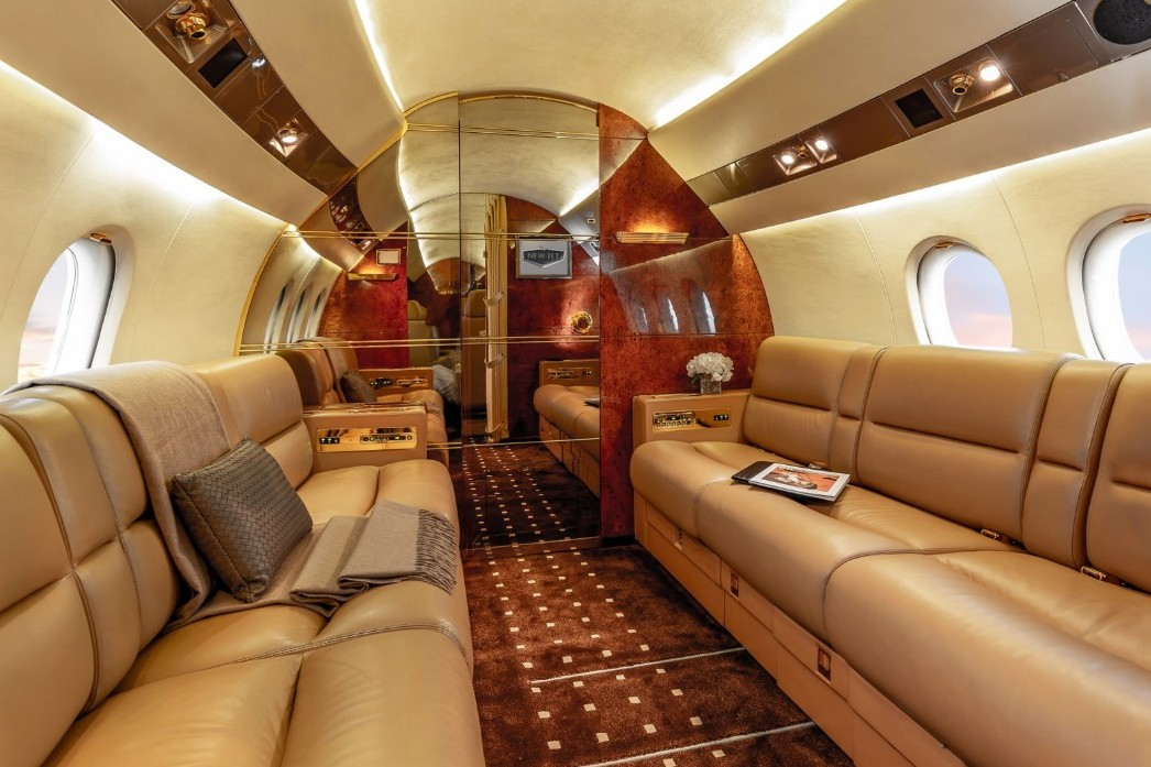 Rich red luxury private jet interiors