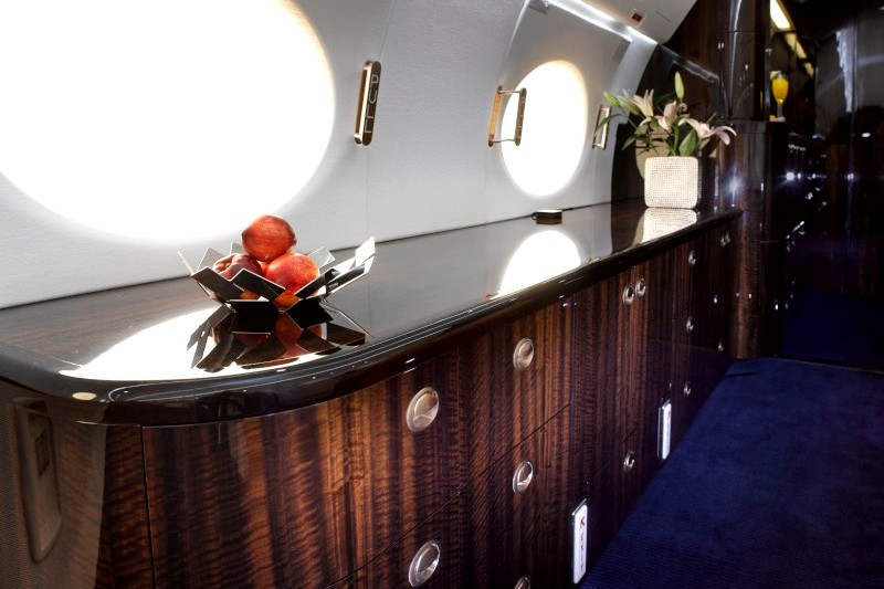Billionaire's private Airbus jet with bedroom and bathroom