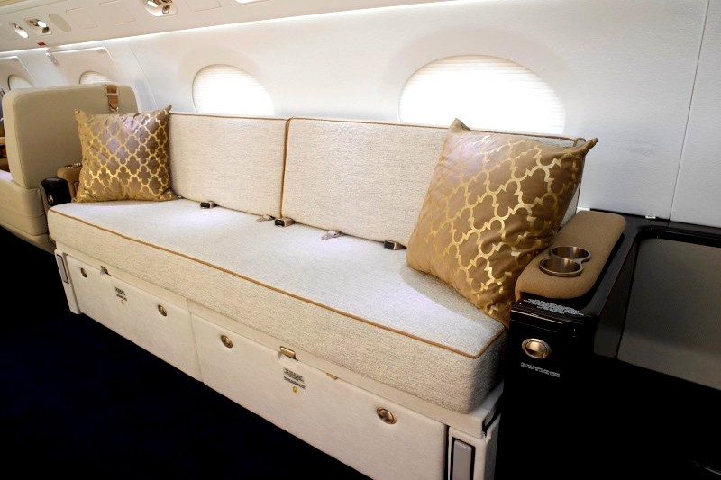 Modern gold interior of luxury private jet
