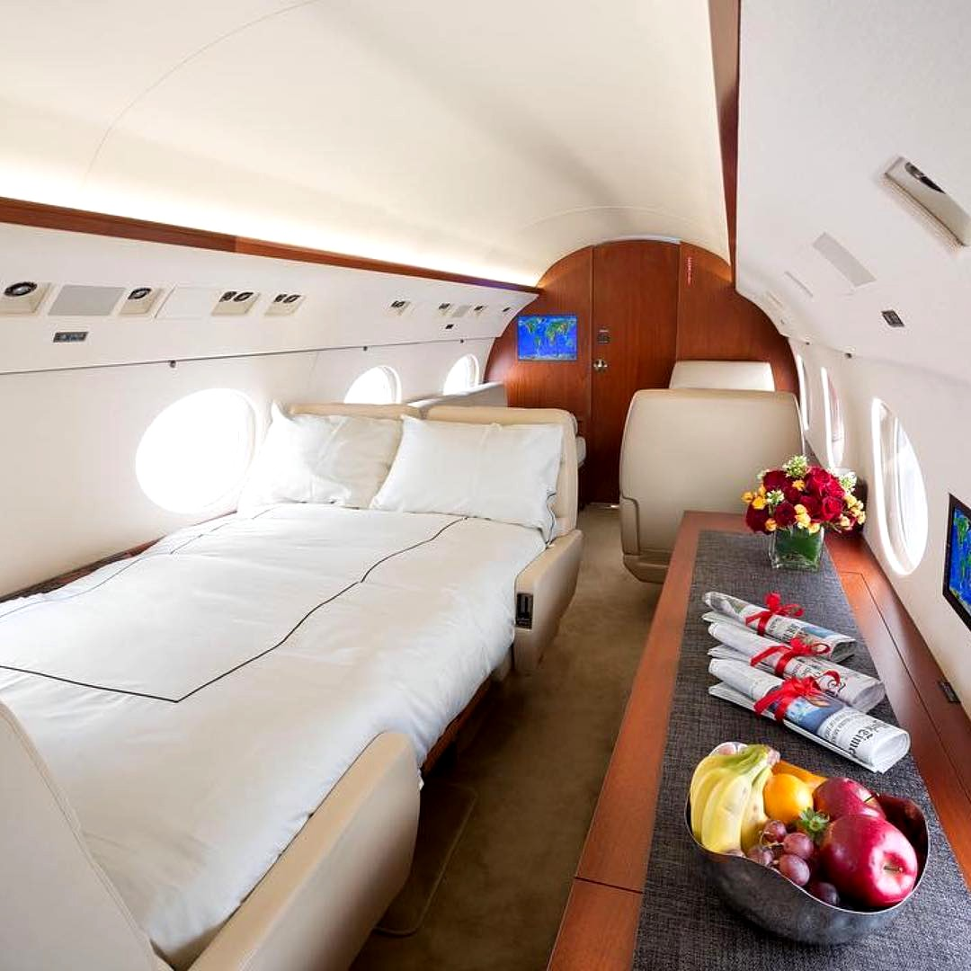 Private jet with a dream bedroom and shower for sale