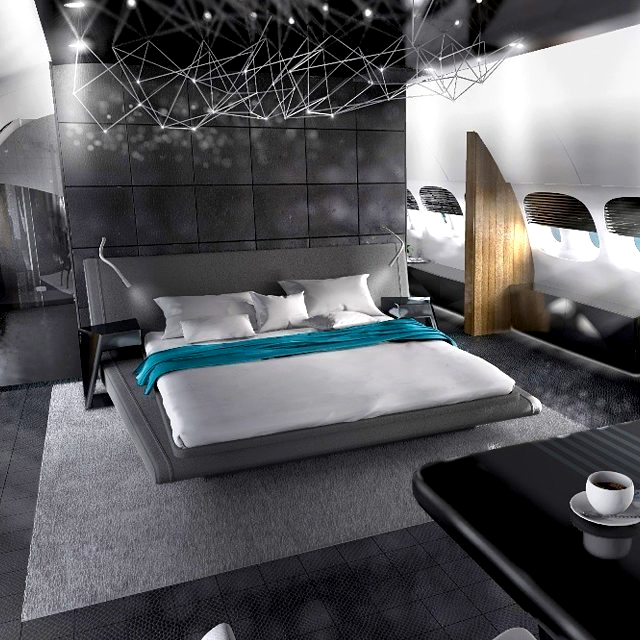 Black color in luxury private jet interior design: Bedroom edition