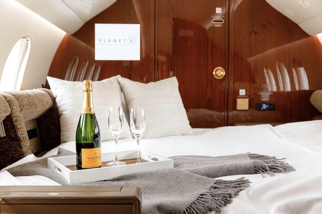 Cool bedroom interior inside celebrities' private jets