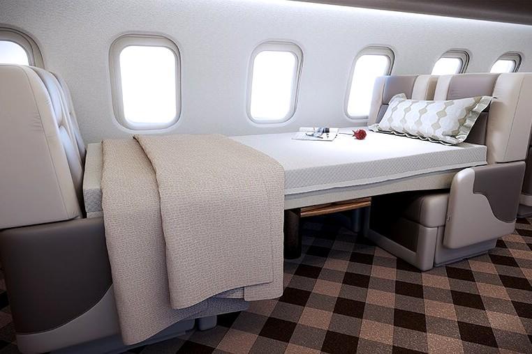 Large luxury private jet bedroom