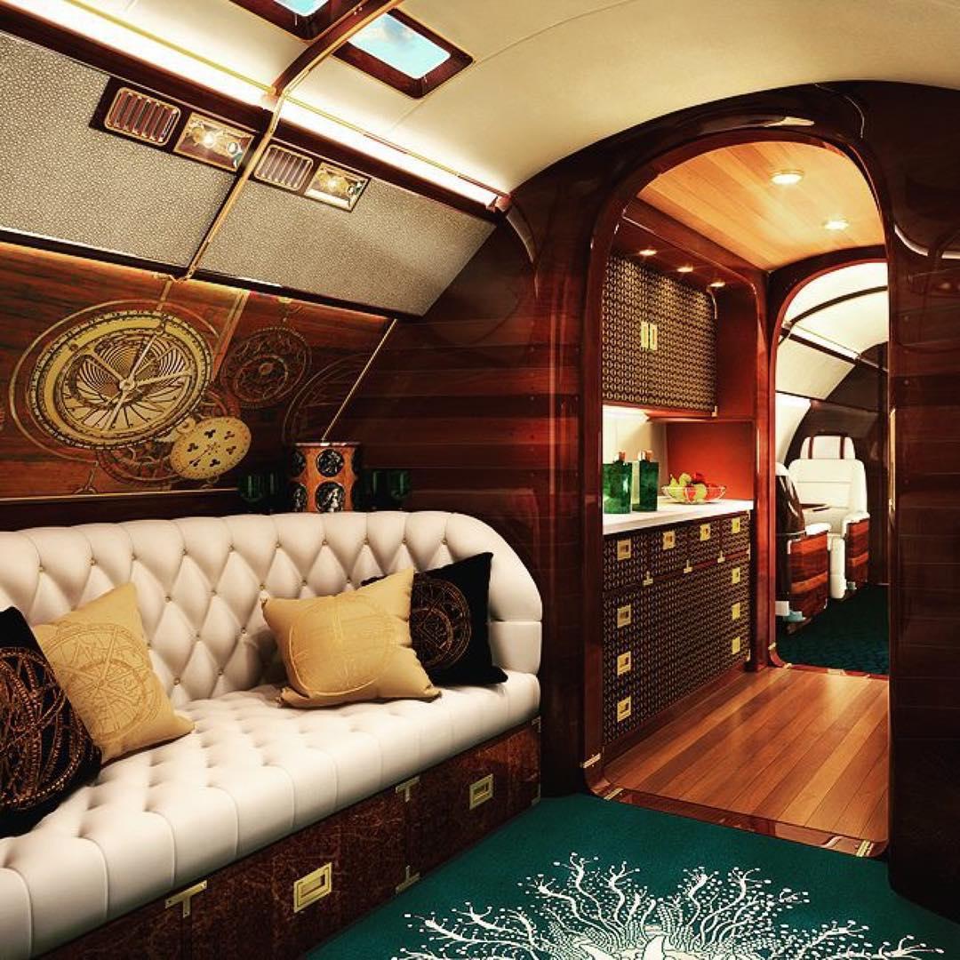 Billionaire-style, custom luxury private jet interior