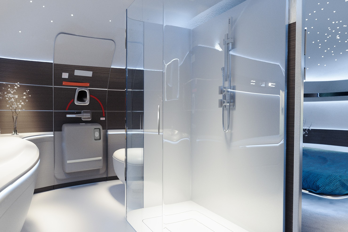Luxury private jet interior with a dream bedroom and shower for sale