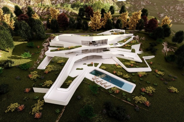Futuristic mansions and house design ideas in Adopt me