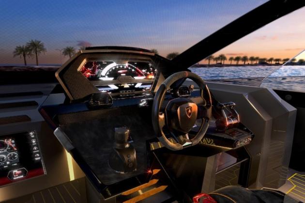 Lamborghini boat engine. Plus, newly-build green Lambo Boat
