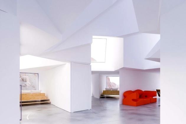 Futuristic mansion aesthetic and house interior design.