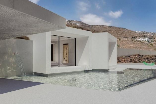 Futuristic mansion in Mykonos. Perfect minimalist interior design.