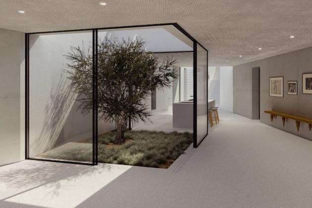 Dark futuristic mansion exteriors