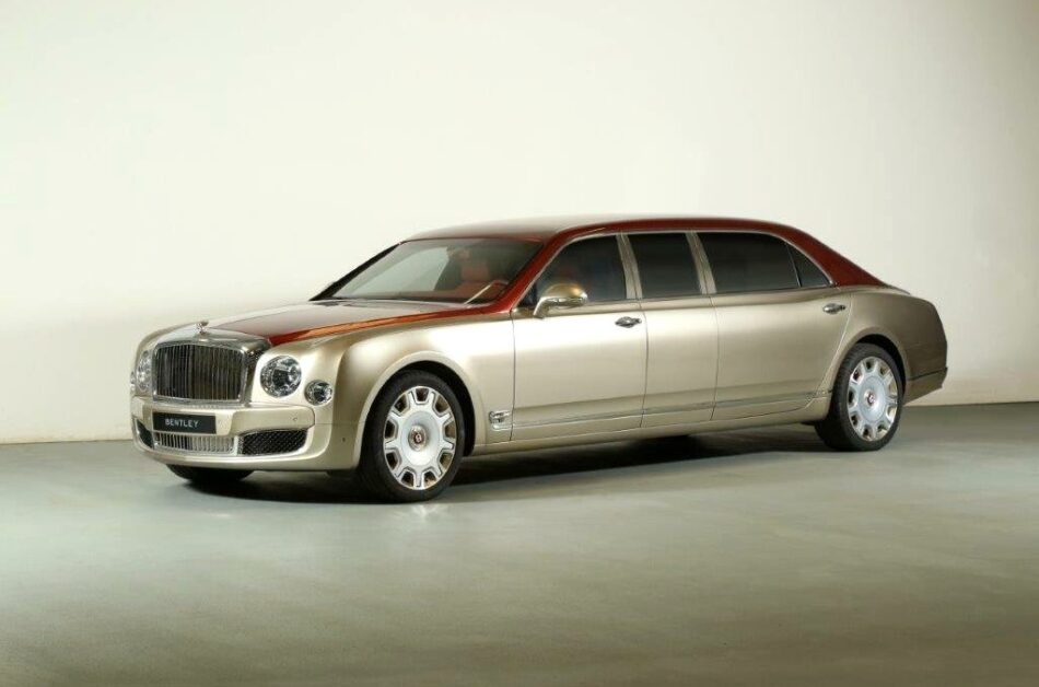 Bentley premium-class limousine in beige and red, with custom interior